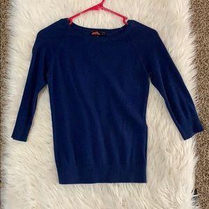 blue crew neck sweater top